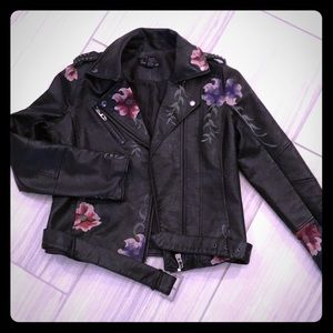 Pleather moto jacket with embroidery